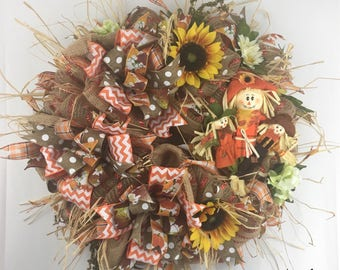 Fall Wreath for Front Door, Scarecrow Wreath, Autumn Wreath