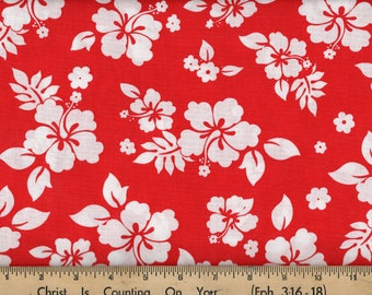 Tropical Hibiscus Floral Hawaiian Red Cotton Quilting Sewing Fabric, BTY #252-4