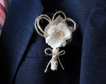 Rustic Men's Boutonniere, Shabby Chic Lapel Pin, Counry Groom Buttonhole, Groom Boutonniere, Best Man Buttonhole, Groomsman, Groom Accessory