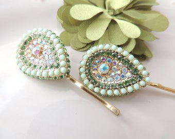 Sparkle Greens Stones Bridal Hair Clip, Amazing Hair Pin. Special Leaf Brooch, Purple Hair Clip, Ethnic Hairclip, Barrette