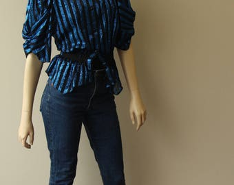 Blue-black striped blouse
