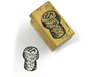 Vintage 1980s Wood Handle Rubber Stamp Cork Wine Bottle Cork Rubber Stamps of America
