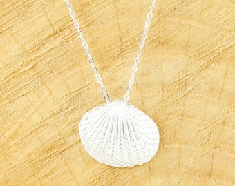 Dainty shell necklace silver (rhodium plated)