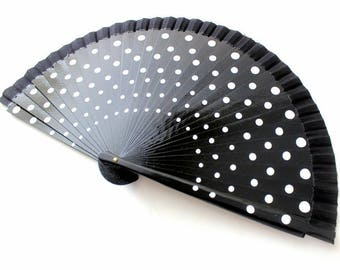 Hand Fans, hand fan, Abanico, fan in black with white dots