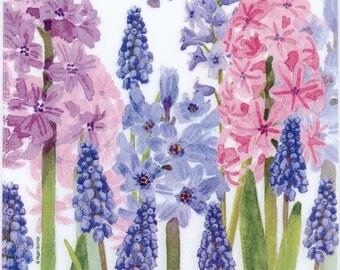 4 Decoupage Napkins   Blue and Purple Hyacinth Flowers   Hyacinth Napkins  Floral Napkins  Blue Napkins   Paper Napkins for Decoupage