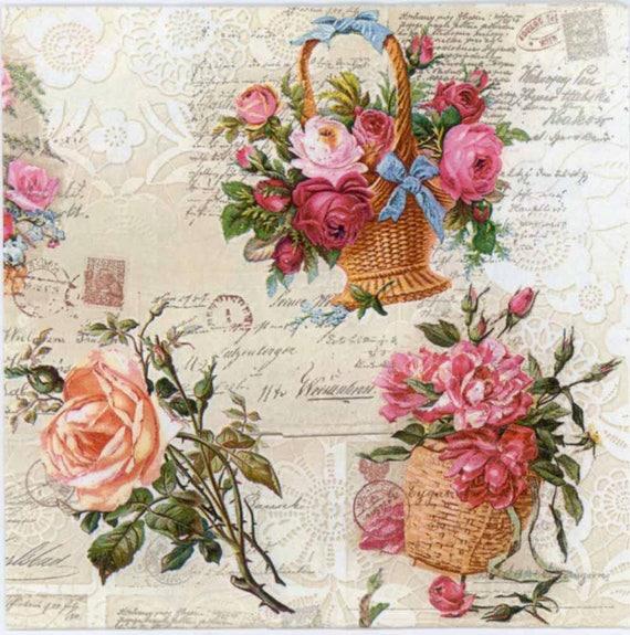 Decoupage Paper Napkins Baskets of Roses Floral Napkins