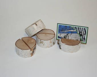"Set of 10 Rustic Birch Bark Wood Place Card Holders 2.75"" x 1"" high"
