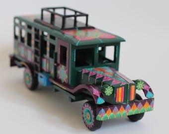 Ready To Ship-Wood Bus-Mexican Folk Art Design-Home Decor-Vintage Style