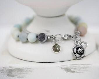 Knotted Natural Stone Bracelet / Charm Bracelet
