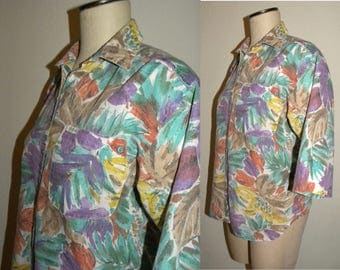 Vintage 80s Floral Boxy fit Blouse / Oversized cotton shirt  Women / New Wave Fits size S