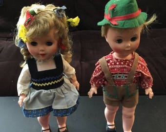 SUMMER SALE 20% OFF Sale Vintage 1960s Hansel and Gretel Dolls Jolly Toys 1962 German Swiss Plastic Girl and Boy