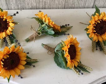 Artificial Sunflower, Lavender and Corn Buttonhole - Finished with Twine