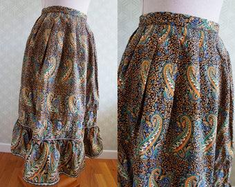 70s boho flared vintage skirt. Paisley print vintage skirt. Small size skirt.