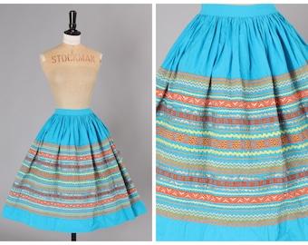 Vintage original 1950s 50s novelty ric rac trim full cotton skirt Sqwaw patio Western UK 8 US 4