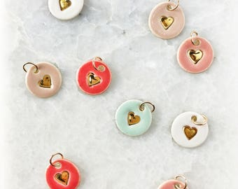 New! Heart Add-On Charms - Delicate Charm Only - Handmade Heart stamped Pendant in 18K Gold Luster Overglaze on Ceramic Stoneware
