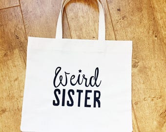 Witch shopping bag, market bag, tote bag, calico bag, wicca, white witch, charmed