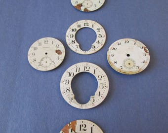 Lot 1   7 Old & Worn Antique and Vintage Ceramic Pocket Watch Dials for your Watch Projects - Jewelry Making - Steampunk Art