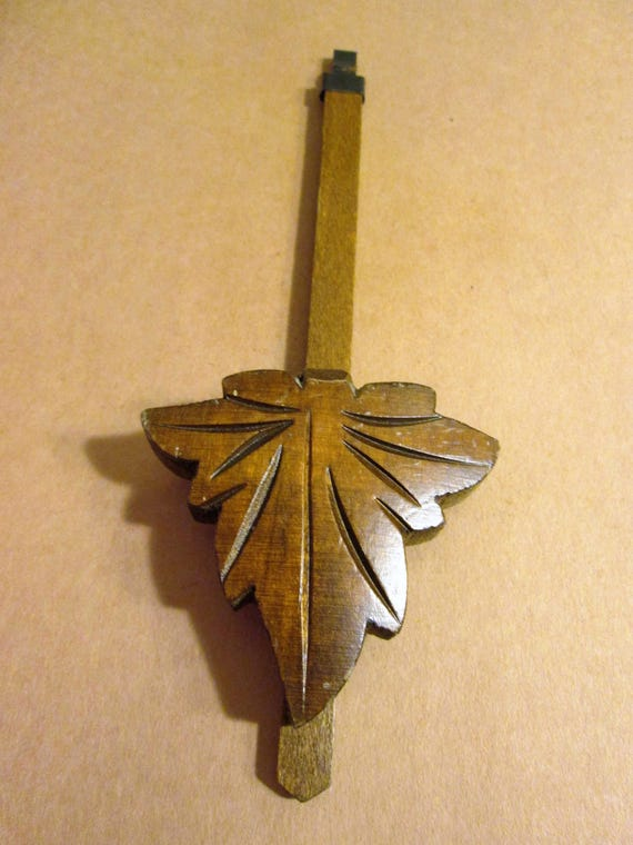 """7"""" Vintage Carved Wood Leaf Design Cuckoo Clock Pendulum for your Clock Projects - Steampunk Art"""