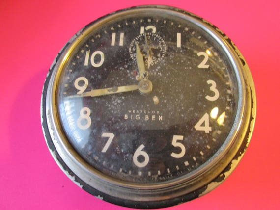 "Old Large 5"" Westclox Big Ben  Alarm Clock for Repair, Parts, Steampunk Art and etc..."