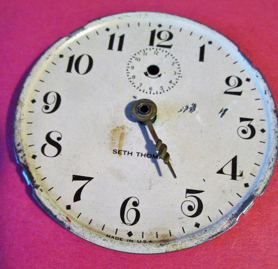 "Old and Worn 2 1/2"" Seth Thomas Clock Dial for your Clock Projects, Steampunk Art & Etc.."