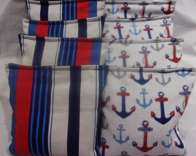 8 ACA Regulation Cornhole Bags - Ocean Anchors and Nautical Stripes in Red White and Blue