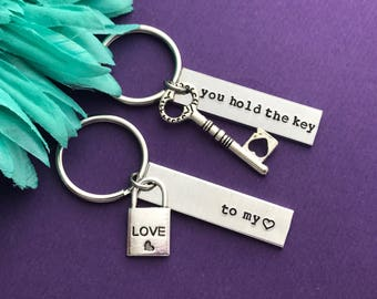 Valentine's Day gift - you hold the key to my heart  - SET love gift - wife gift - girlfriend gift keychain set for both - be mine - love