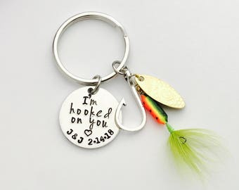 fishing gift - fishing lure- I'm hooked on you - hand stamped key chain- great for fathers day - dad gift