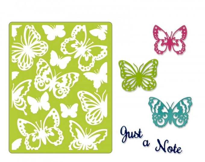 Will ship March 20th - Sizzix Tim Holtz Thinlits Die Set 6PK w/Textured Impressions - Just a Note Butterflies 662753