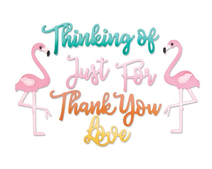 Will ship March 20th - Sizzix Tim Holtz Thinlits Die Set 11PK - Phrases, Thank You & Flamingo by Jen Long 662724
