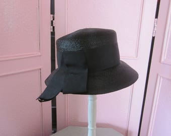 1960s Shiny Black Straw Hat with Black Grosgrain Ribbon Band