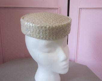 1960s Ivory Satin Pillbox Hat with All-Over Sequins