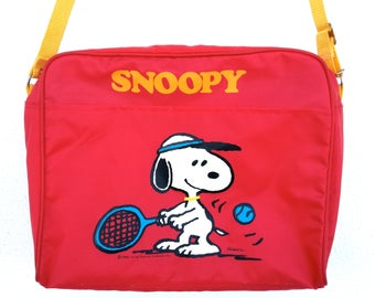 Vintage Snoopy Luggage nylon bag, made in Taiwan, 1980s
