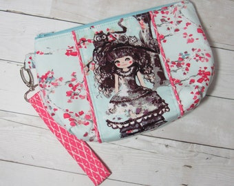 Wristlet / Clutch / Purse w/ Detachable Wrist Strap in Art Gallery Wonderland Fabric - Floral, Alice, Tea Party, Credit Card Pockets, Flower