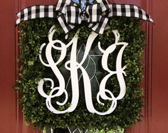 UV Stable Faux Square Or Round Boxwood Wreath with Monograms or Single Letter