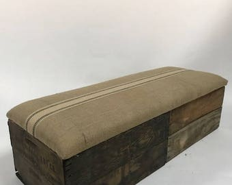 Upholstered Crate Storage Bench - Beige Burlap