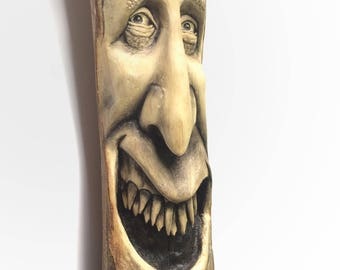 Wood Carving, Wood Spirit, Handmade Woodworking, Birthday Gift, Collectible Sculpture, Wall Art, Home Decor, Gift for Dad, Faces, Unique