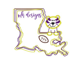 Louisiana State with Tiger and Football embroidery design, Vintage stitch tiger, Louisiana embroidery file, Bean stitch tiger