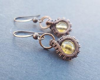 November Birthstone Earrings, November Birthstone Jewelry, Citrine Earrings, Citrine Copper Earring, Wire Wrapped Jewelry, Wire Wrap Earring