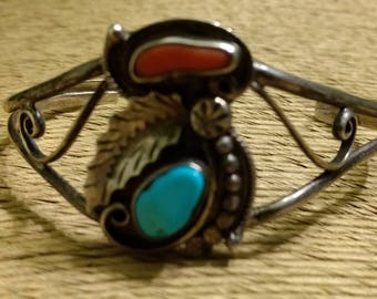 Vintage Native American Navajo Artist Signed J&J Clark Pawn Sterling Silver Coral and Turquoise Cuff Bracelet