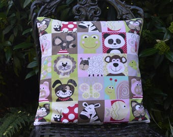 "Handmade Cotton Cushion Pillow Cover 16""x16"" in Red/Green/Pink/Brown Cheeky Animals Frog/Monkey/Pig/Dog/Zebra Colourful Squares Design Print"