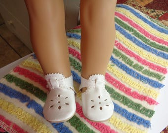 """White Leather Doll Shoes for 18 inch Dolls- Shoes fit 18"""" Dolls like American Girl"""