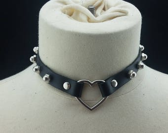 Choker Genuine Leather - Choker Collar Black Leather Choker with Silver Heart Ring and Dome Nuts