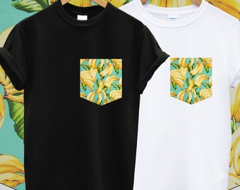 Real Stitched Cute Banana Print Print Pocket T-shirt Hipster Indie Swag Dope Hype Black White Mens Womens Cute Pocket Shirt