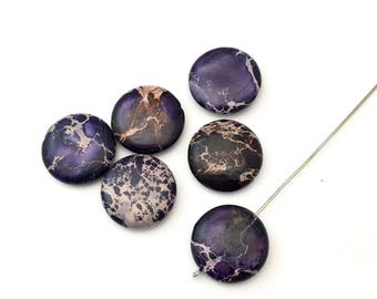 6 purple aqua terra jasper coin stone beads / 20mm #PP 351