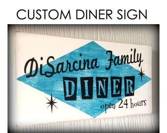 Custom Diner Sign, Retro Diner, Moms Diner Sign, Diner Decor, Kitchen Decor, Vintage Decor, Chef Sign, Mother's Day Gift, 1950s Diner Bistro
