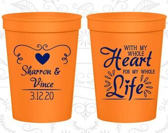 Orange Stadium Cups, Orange Cups, Orange Party Cups, Orange Wedding Cups (387)