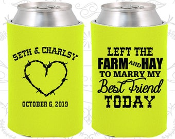 Neon Yellow Wedding, Neon Yellow Can Coolers, Neon Yellow Wedding Favors, Neon Yellow Wedding Gift, Neon Yellow Party Decor (343)