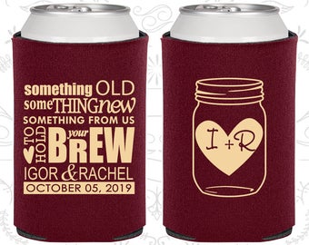 Wedding Can Coolers, Mason Jar, Something Old Something New, Personalized Can Coolers, Custom Beer Can Coolers, Wedding Favors (C01)