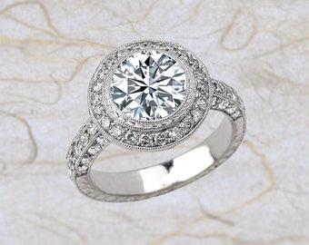 NEO Moissanite Art Deco Vintage Diamond Halo Engagement Ring in 14k White Gold 8 MM