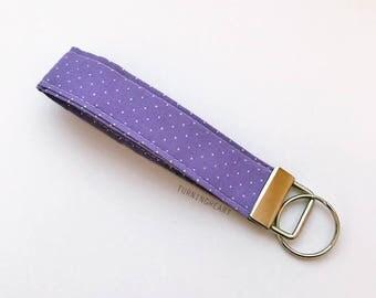 White Polka Dots on Light Purple Key Fob, Chain